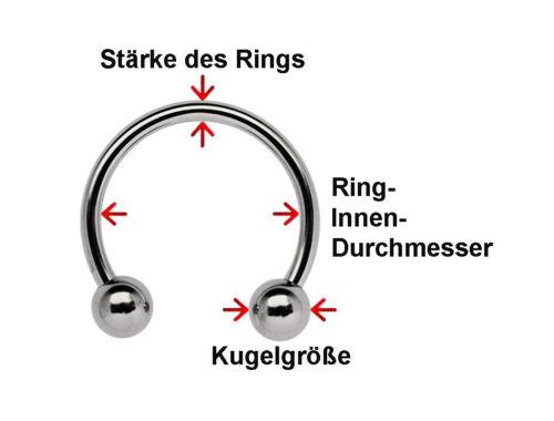 Titan Intim Piercing Schmuck Circular Gewindering CBR 6,0mm 2 Verschlusskugeln