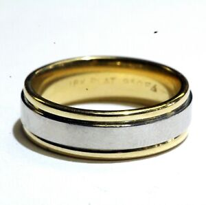 18k-yellow-white-gold-two-tone-womens-wedding-band-ring-7-2g-ladies-comfort-fit