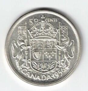 CANADA-1956-50-CENTS-HALF-DOLLAR-QUEEN-ELIZABETH-II-800-SILVER-COIN