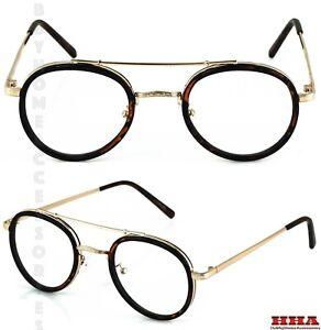 Men-Women-Classic-Vintage-LENNON-Style-Clear-Lens-EYEGLASSES-Tortoise-Gold-Frame