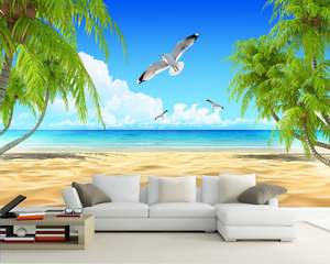 3D Beach Trees Seabirds Sky Paper Wall Print Wall Decal Wall Deco Indoor Murals