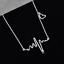 2pcs Korean ECG EKG Necklace Electrocardiogram Heartbeat Heart Rhythm Pendant UU