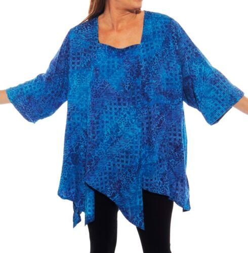 PLUS We Be Bop Lagenlook MYSTIC BLUE  Art to Wear CARMEL Top Flat Rayon