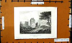 Original-Old-Antique-Print-View-Goodrich-Castle-Herefordshire-Woolnoth-Hastings