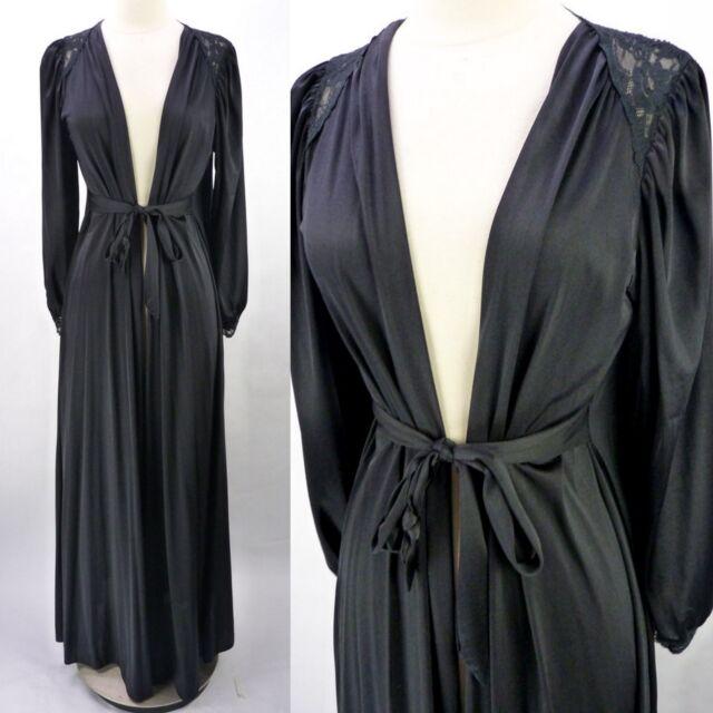 Vintage OLGA Silky Black Belted Lace Panel Long Sleeve Peignoir Robe S 9788