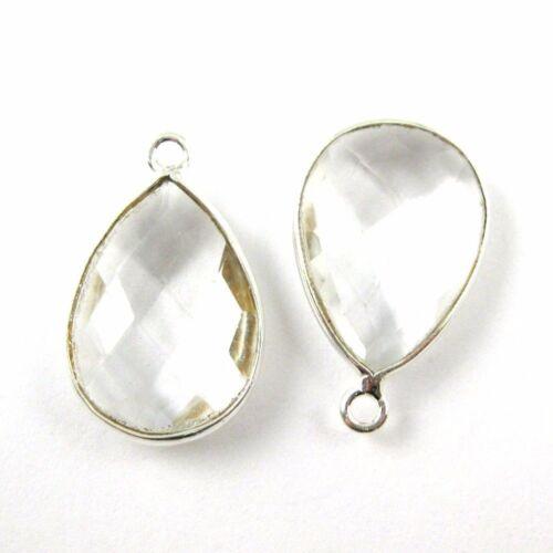 Crystal Quartz 2 Pcs Bezel Gem Pendant-Sterling Silver-13x18mm Faceted Pear