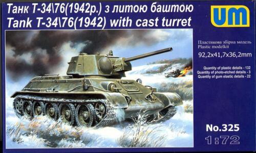 UM-MT Models 1//72 Soviet T-34//76 TANK 1942 Version with Cast Turret