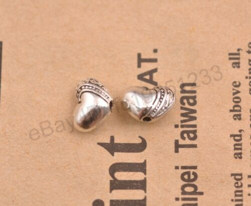 20pcs Tibetan Silver Solid Heart Spacer Beads Jewelry Findings 9X7MM M18