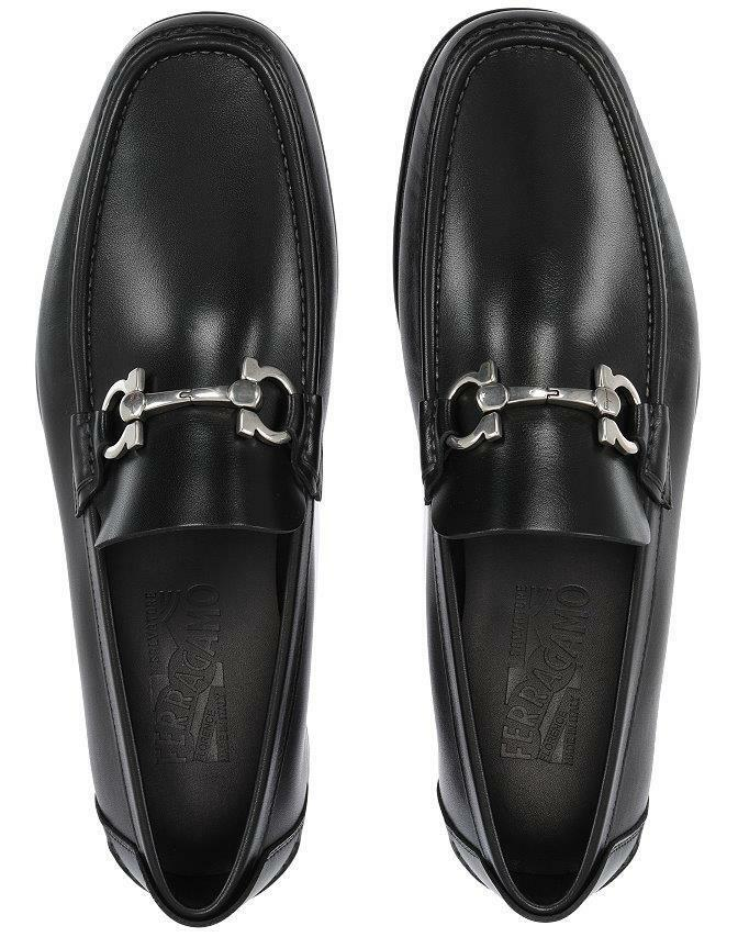 NEW SALVATORE FERRAGAMO FIORDI  BLACK LEATHER GANCINI LOAFERS SHOES 9 EEE
