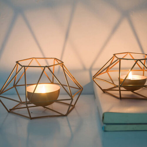 1xGeometric Iron//Copper Candlestick Tealight Candle Holder Home Table Decoration