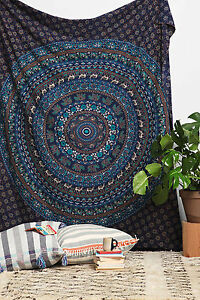 Indian-Bohemian-Elephant-Mandala-Tapestry-Hippie-Wall-Hanging-Twin-Bedspread