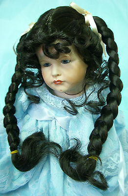 Monique doll wig light brown with long braid 12-13 size