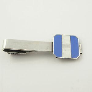 ccc99593fcf9 Art Deco 1930s Blue Enamel Sterling Tie Clip Bar Clasp Silver Gatsby ...