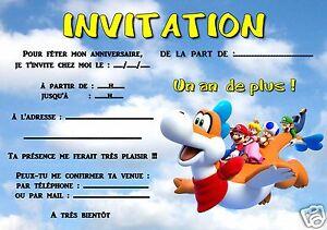 5 Ou 12 Cartes Invitation Anniversaire Mario Ref 297 Ebay