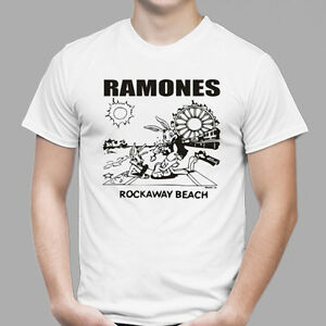 0088d18b THE RAMONES Rockaway Beach Punk Rock Band Men's White T-Shirt Size S ...