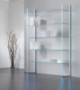 Dettagli su Composizione murale mobile parete libreria vetro cristallo sala  soggiorno