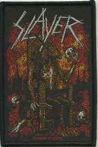 SLAYER-devil-on-throne-2014-oblong-WOVEN-SEW-ON-PATCH-official-merchandise