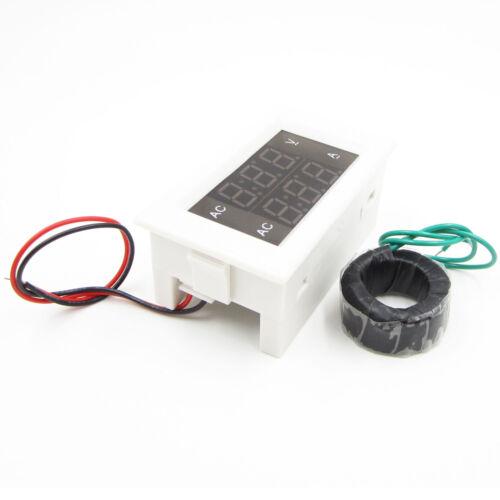Digital Ammeter Voltmeter LCD Panel Amp Volt Meter AC 100A 300V 110V 220V Weiß