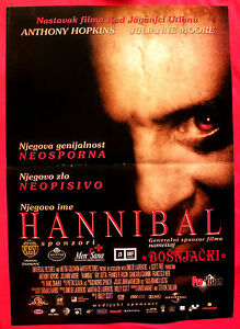 Hannibal 2001 Anthony Hopkins Julianne Moore Ridley Scott Serbian Movie Poster Ebay