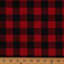 Carolina Gingham Buffalo Check Red Black Cotton Fabric Print by Yard D470.02