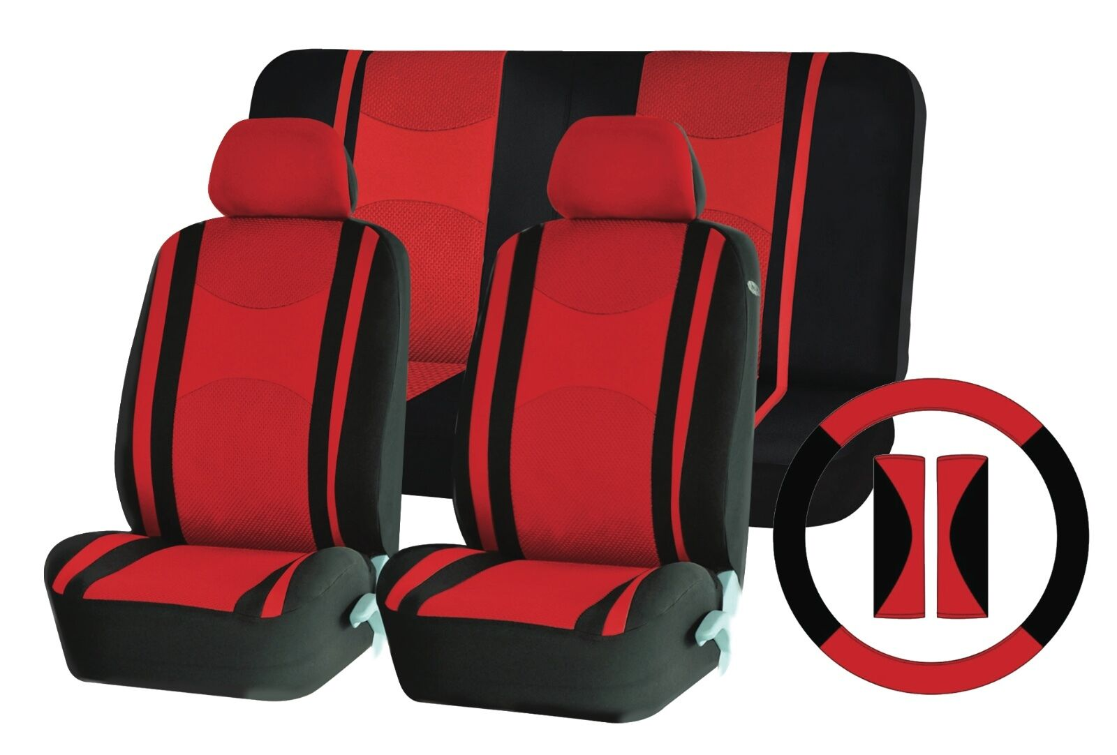 Red Mesh Cloth Car Seat Cover Steering Glove fit Hyundai Getz Coupe i10 i20 ix35
