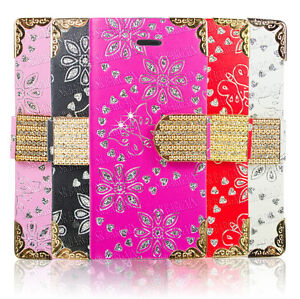 Bling-Diamond-Magnetic-Flip-Leather-Wallet-Case-For-Apple-Samsung-Galaxy-Phones