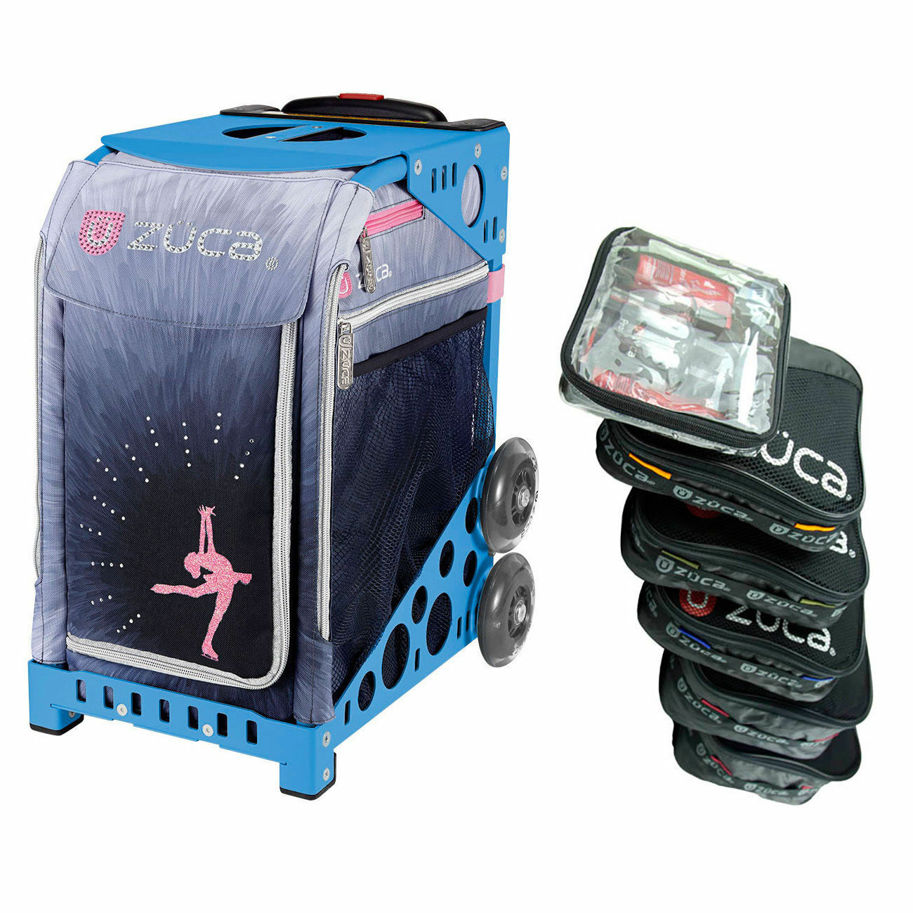 Zuca ICE DREAMZ LUX Sport Insert Bag with Blau Frame and Packing Pouch Set