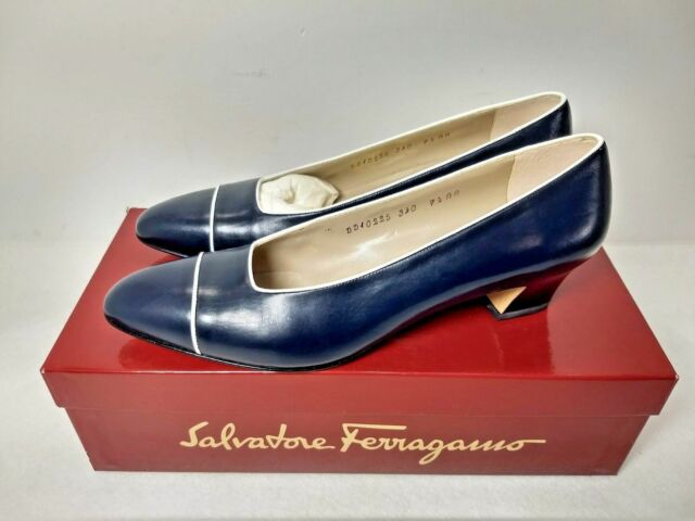 30719e16ebe Salvatore Ferragamo Navy Blue   White pumps dress shoes women US 7.5 AA ~  NIB