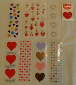 "VALENTINE DAY HEARTS X O LARGE 3 X 6/"" MRS GROSSMAN STICKERS"