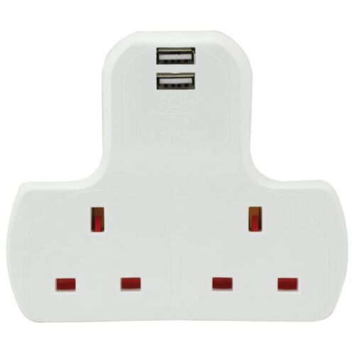 Electrical 2 Gang 2 USB  Multi Wall Mains Plug Extension Adaptor Charge Ports