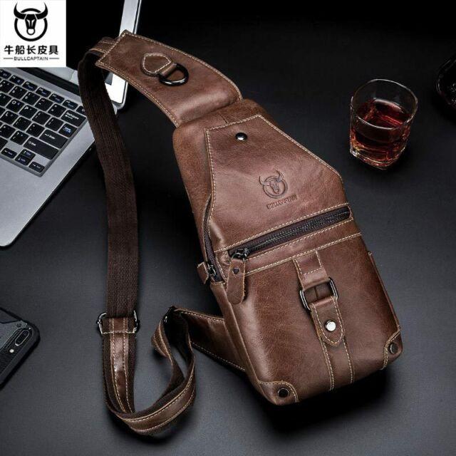 Mens Genuine Leather Chest Sling Shoulder Bag Cross-body Waist Pack QR