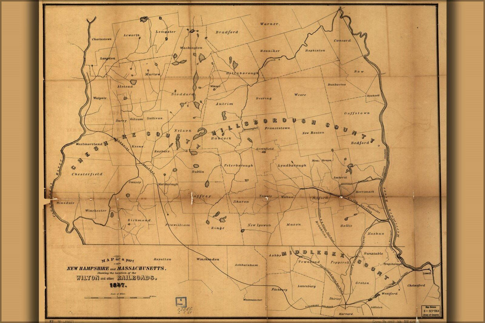 Plakat, Viele Größen; Karte von Neu Hampshire Massachusetts Eisenbahnen