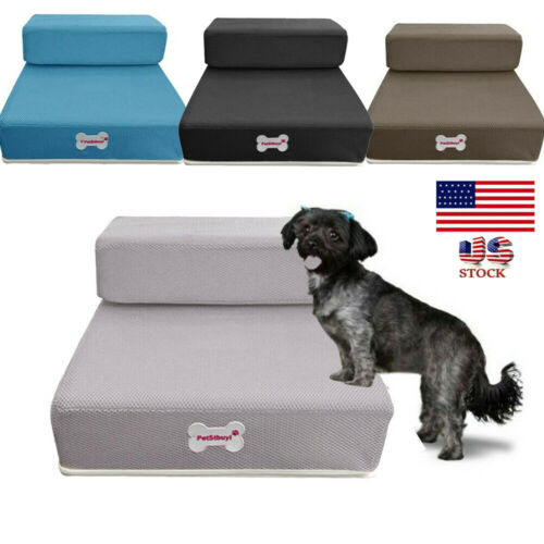 Breathable Mesh Foldable Pet Stairs Detachable Pet Bed Stairs Dog Ramp 2 Steps