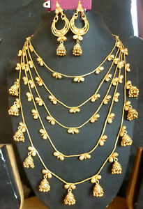 22K-Gold-Plated-Indian-5-Rows-Beautiful-Necklace-Earrings-Wedding-Set-Jewelry