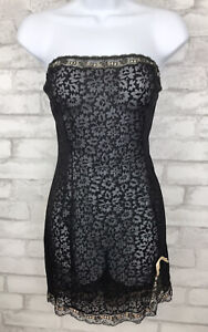 Vintage Gaymode Black Strapless Sheer Lace Nylon Ribbon Trim Chemise 34 Lingerie