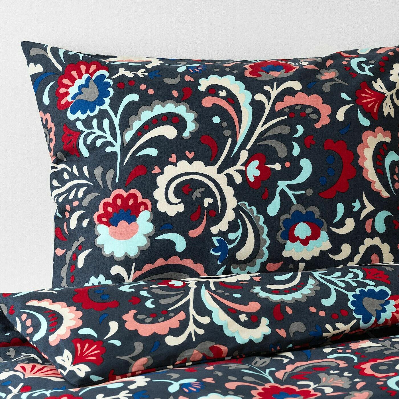 New IKEA KRATTEN King Duvet cover and 2 pillowcases, dark Blau, multiFarbe