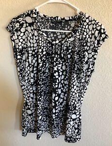 AK-ANNE-KLEIN-Womens-Size-XLarge-Black-White-Short-Sleeves-Shirt-Top-Blouse