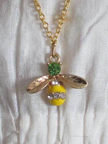 collier pendentif abeille jaune poupée bijou-Jewel necklace+pendant bee doll