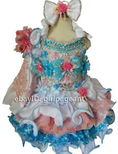 Infant//toddler//baby Halter Crystals Lace Pageant Dress 6~9 Months EB040D