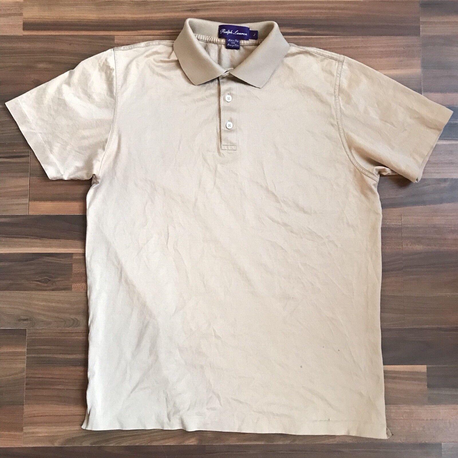 Ralph Lauren Purple Label Tan Cotton Polo Shirt Sz S