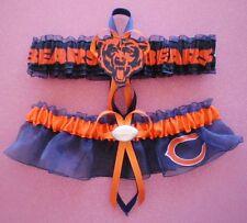 Chicago Bears Navy Blue Wedding Garter Set Football Charm Sport