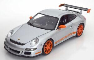 Porsche-911-GT3-RS-naranja-plata-buen-detalle-Diecast-Escala-1-18-Modelo-Nuevo