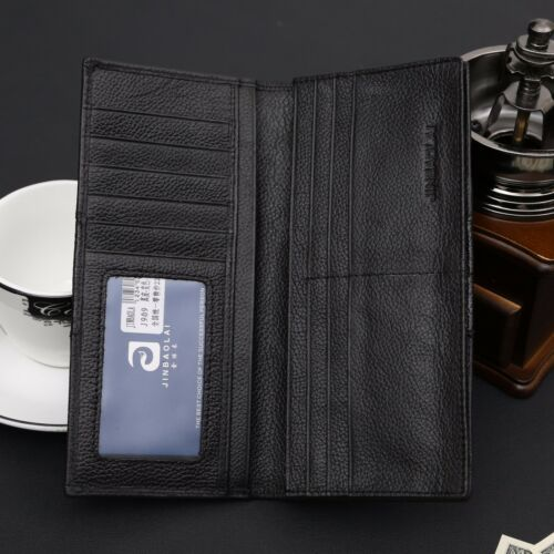 Men/'s Classic Long Genuine Leather Large Wallet ID Card Purse Checkbook Billfold