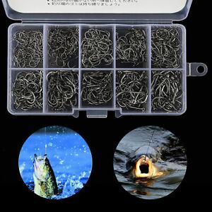 500pcs-Black-Fish-Jig-Hooks-avec-trou-de-Peche-Tackle-Box-10-Tailles-Acier-Carbone