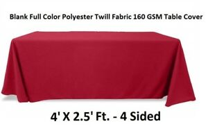 Blank-Full-Colour-Table-Cover-Throw-4-Sided-Tablecloth-Fits-4Ft-Table-Maroon