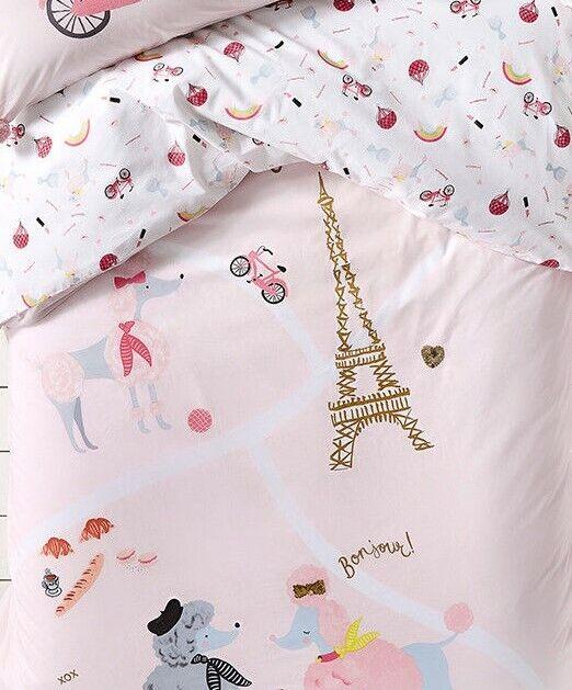Adairs Kids Fifi in Paris Pink Single Quilt Cover Set BNIP RRP  109.99