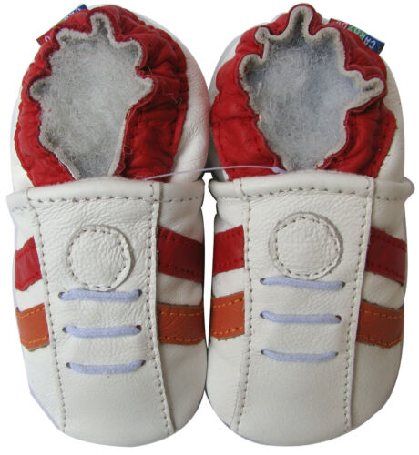 carozoo soft sole leather baby shoes sports white red 0-6m C2