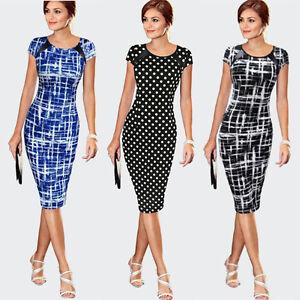 Women-Printing-O-Neck-Bodycon-Short-Sleeve-Party-Cocktail-Pencil-Dress