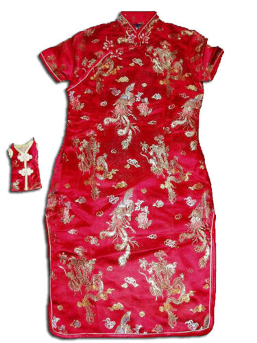 Girls Satin Dragon Chinese Dress in Black Pink Red Pink Blue Gold 9 M-16 Year