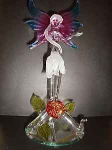 Genuine-Handmade-Spun-Glass-Fairy-With-Flower-Figure-Boxed-A-uk-seller